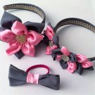 3pcs PINK & GREY  Kanzashi Pointed Petals