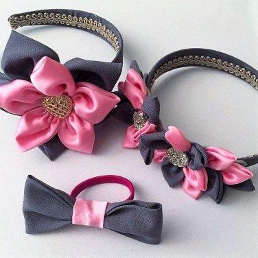 3pcs PINK & GREY  Kanzashi Pointed Petals