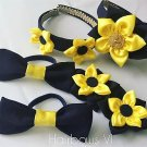 6PCS Navy Blue & Yellow Kanzashi Pointed Petals Set