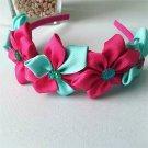 PINK & AQUA Kanzashi Pointed Petals Headband