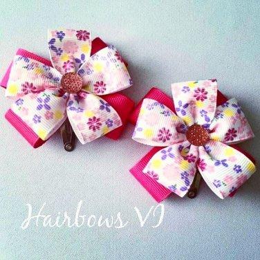 "3"" White & Pink  Flower Hair Clips"