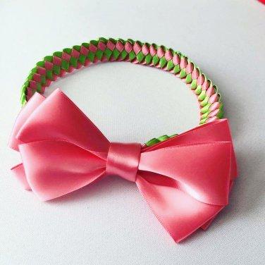 Pink Bow on Braided Headband�