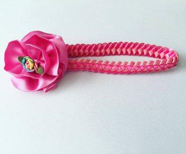 Pink Flower Braided Headband
