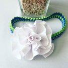 White  Flower on Braided Headband