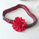 RED Flower Braided Headband