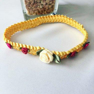 Roses on YellowBraided Headband