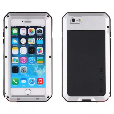 Apple iPhone 6 Plus Silver PrimeTime Water Resistant Tempered Glass Case Cover