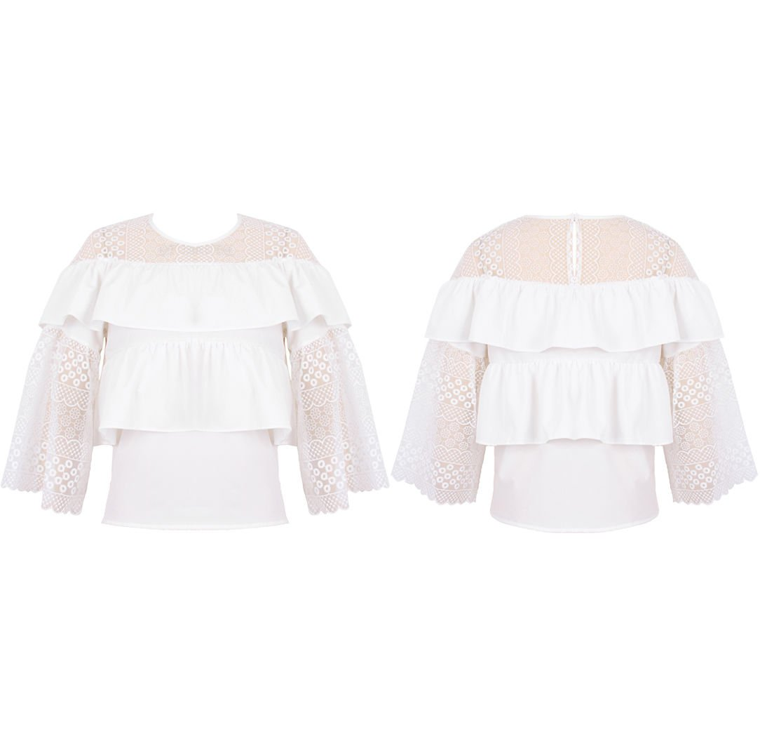 New Women Embroidery Floral Lace Crochet Sheer Long Sleeve Frill Top Blouse L/XL (UK Size 12-14)