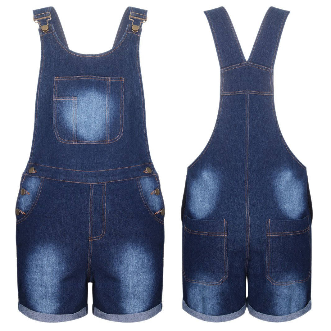 New Women Stretch Denim Jeans Shorts Dress Jumpsuit Play suit Dungaree UK Size 12 Blue
