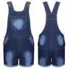 New Women Stretch Denim Jeans Shorts Dress Jumpsuit Play suit Dungaree UK Size 14 Blue