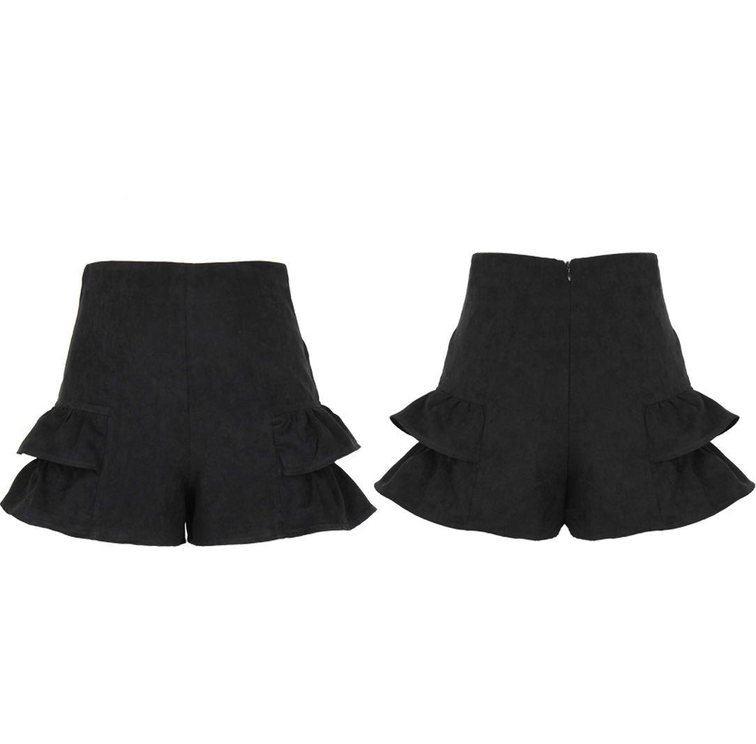 Fashion Women Ladies High Waist Summer Casual Frill Hot Pants Black Shorts UK Size 6 Black