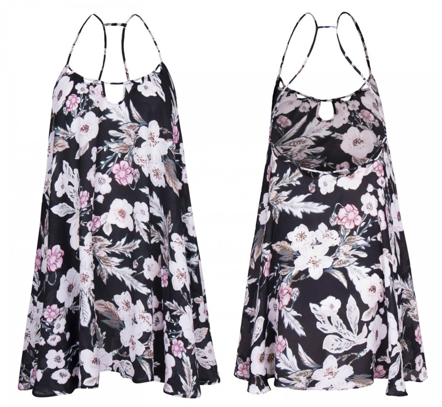 Women Floral Print Asymmetric Sumner Sleeveless Loose A Line Swing Dress UK Size 14 Black
