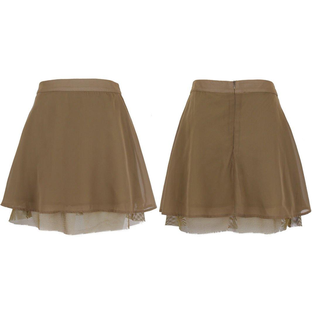 Ladies New Women's Flared Plain Mini Skater Net Bottom Detail Skirt Size UK Size 8 Khaki