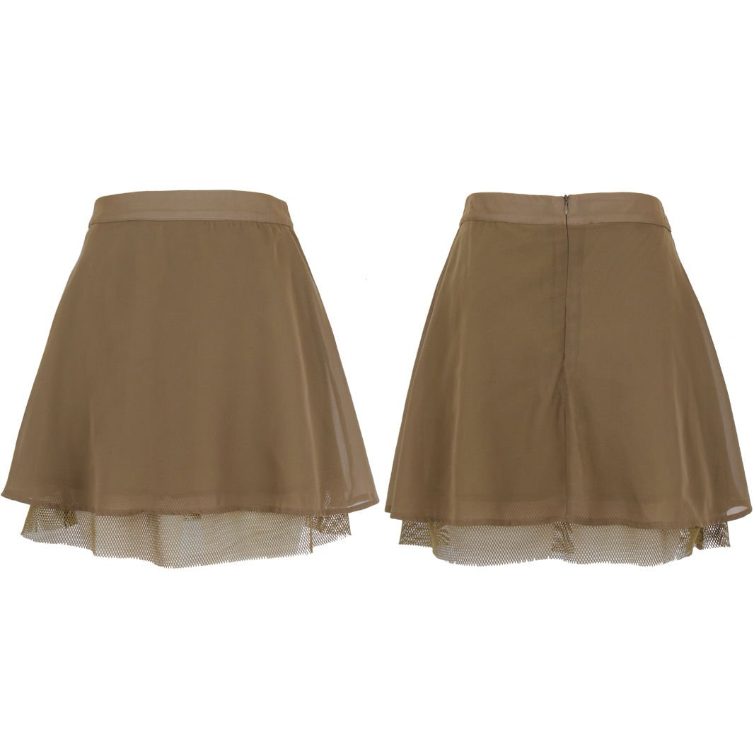 Ladies New Women's Flared Plain Mini Skater Net Bottom Detail Skirt Size UK Size 12 Khaki