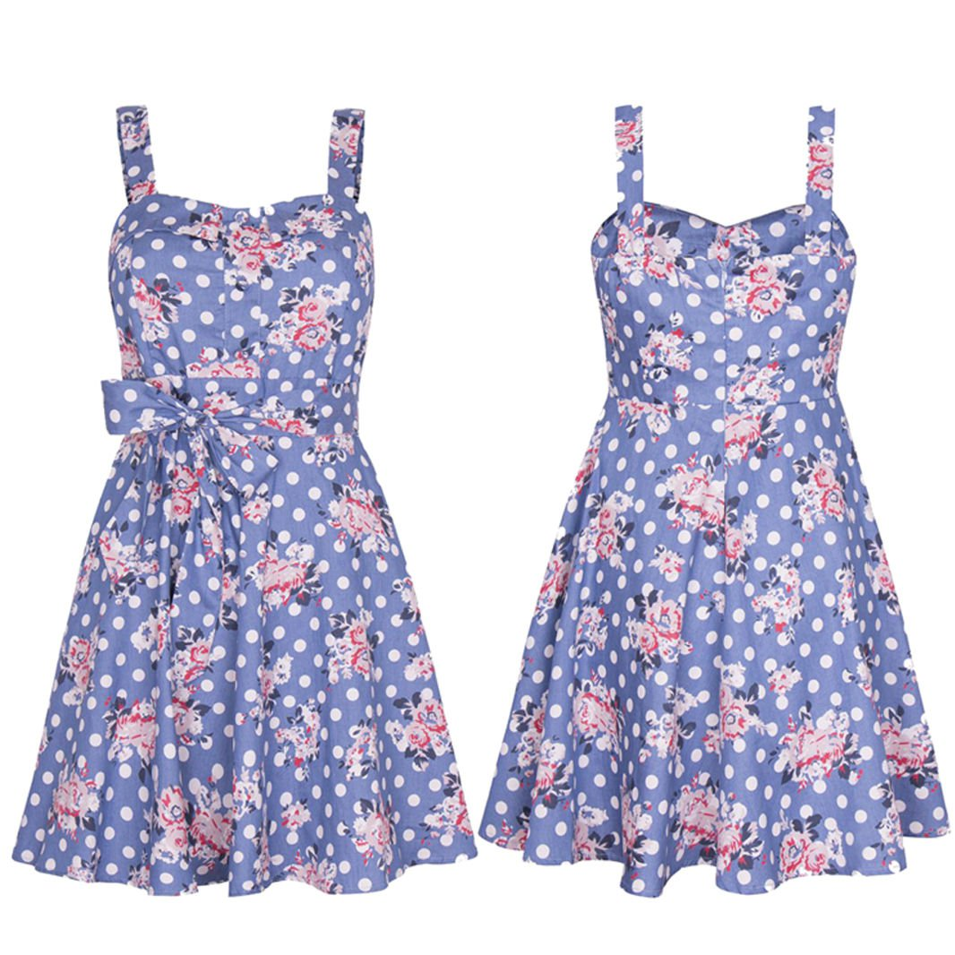 New Women Chic Heart Neck Pleated A Line Flare Skirt Floral Dress Tunic UK Size 8 Blue