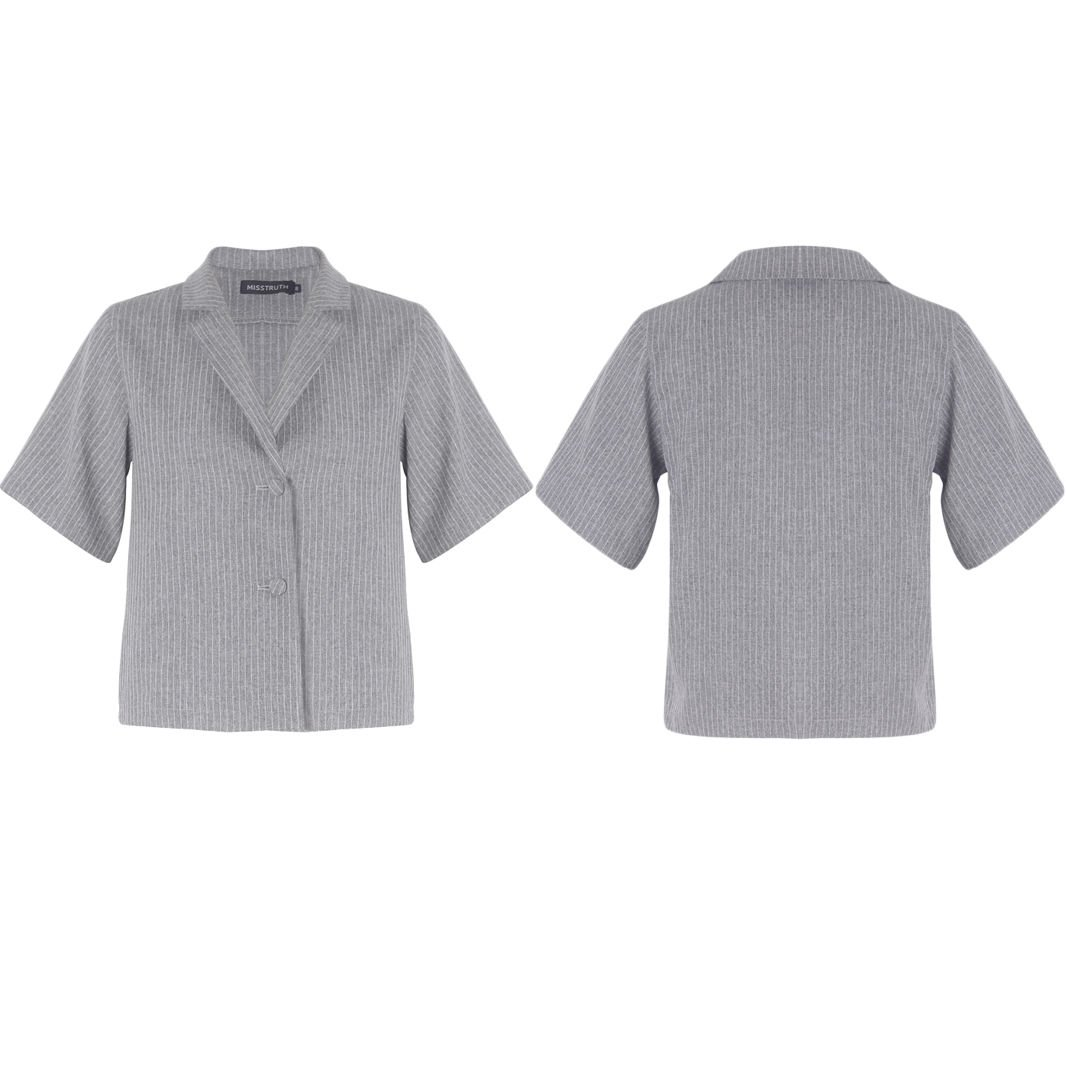 New Women Striped Shirt Short Sleeves Buttoned Collared Blouse Vest Top UK Size 6 Grey