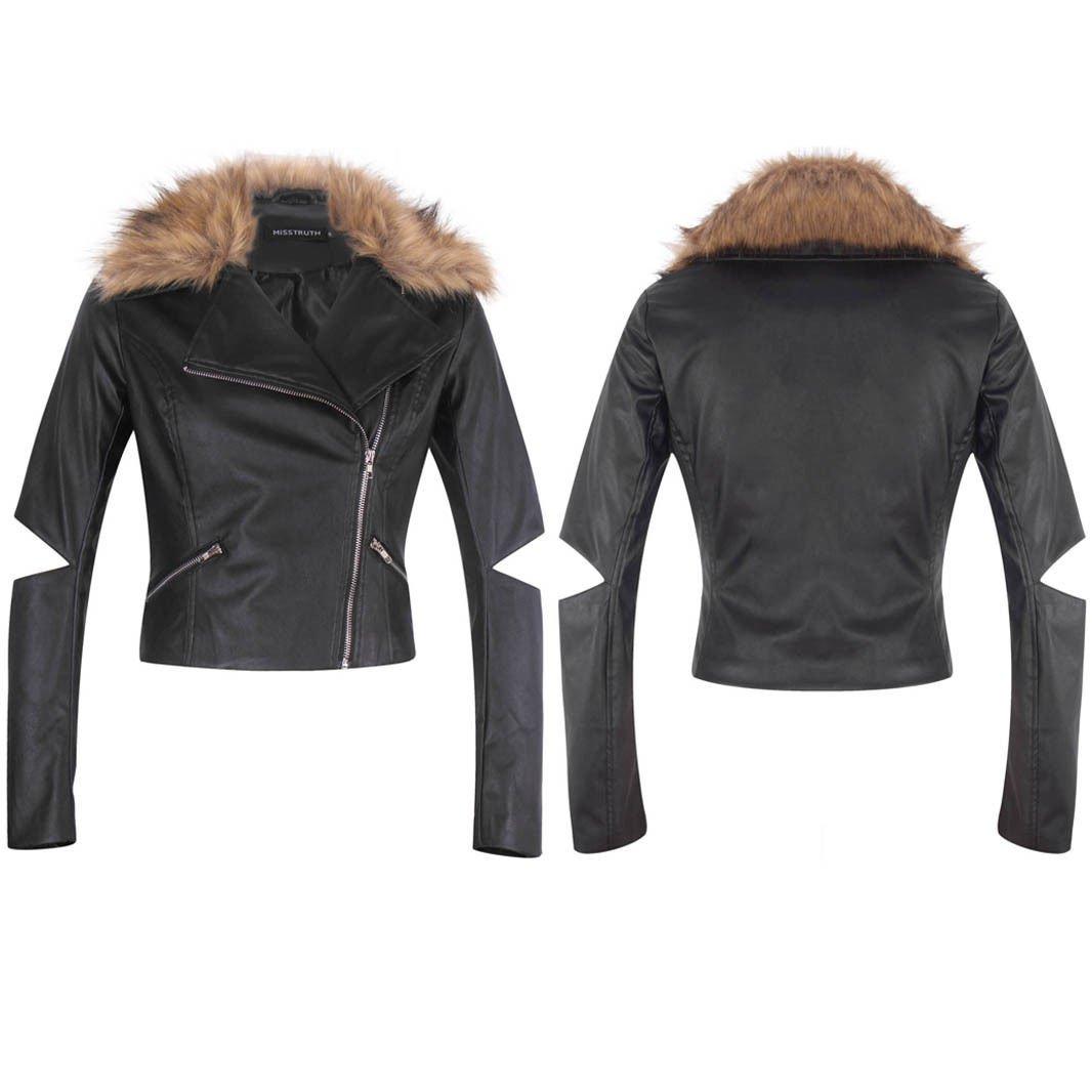 Women PU Faux Leather Bomber Side Zip Fur Collar Biker Black Jacket Coat UK Size 8 Black