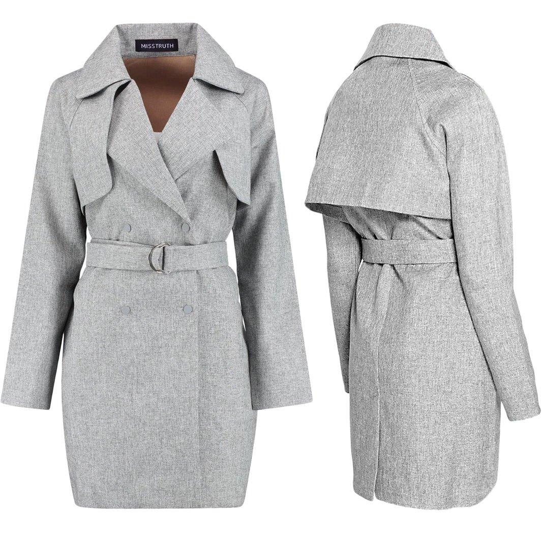 New Women Stylish Trench Coat Belted Vintage Double Breasted Long Jacket Mac UK Size 14 Grey