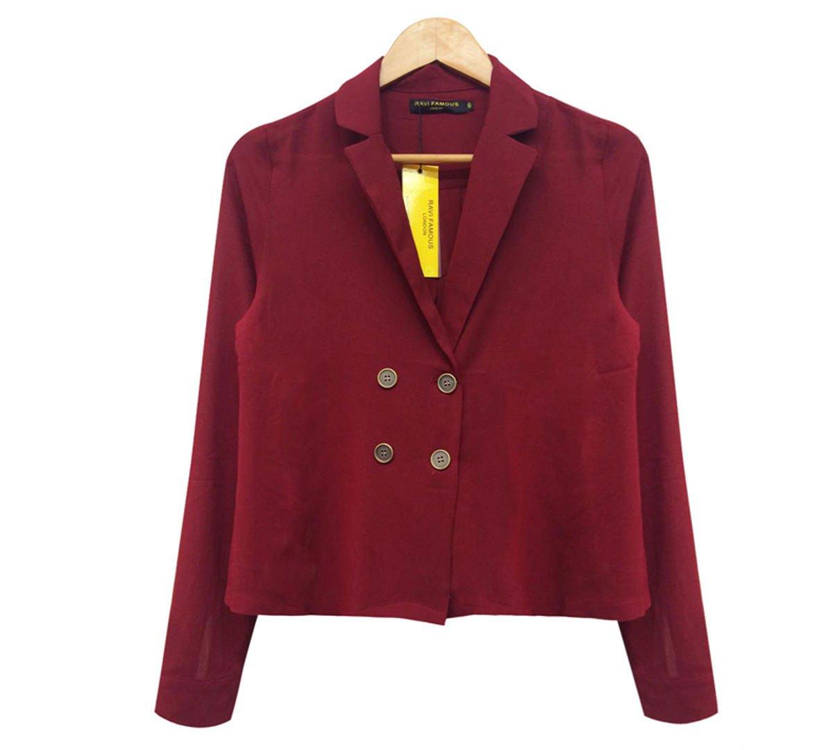 New Womens Open Collar Blazer Chiffon Smart Casual Blouse Ladies Long Sleeve Top UK Size 12