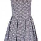 Womens Audrey Peter Pan Collar Sleeveless Black Print Skater Block Pleated Dress UK Size 8