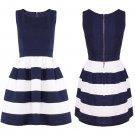 Women 40's 50's Vintage Audrey Sailor Style Rockabilly Retro Solid Tea UK Size 8