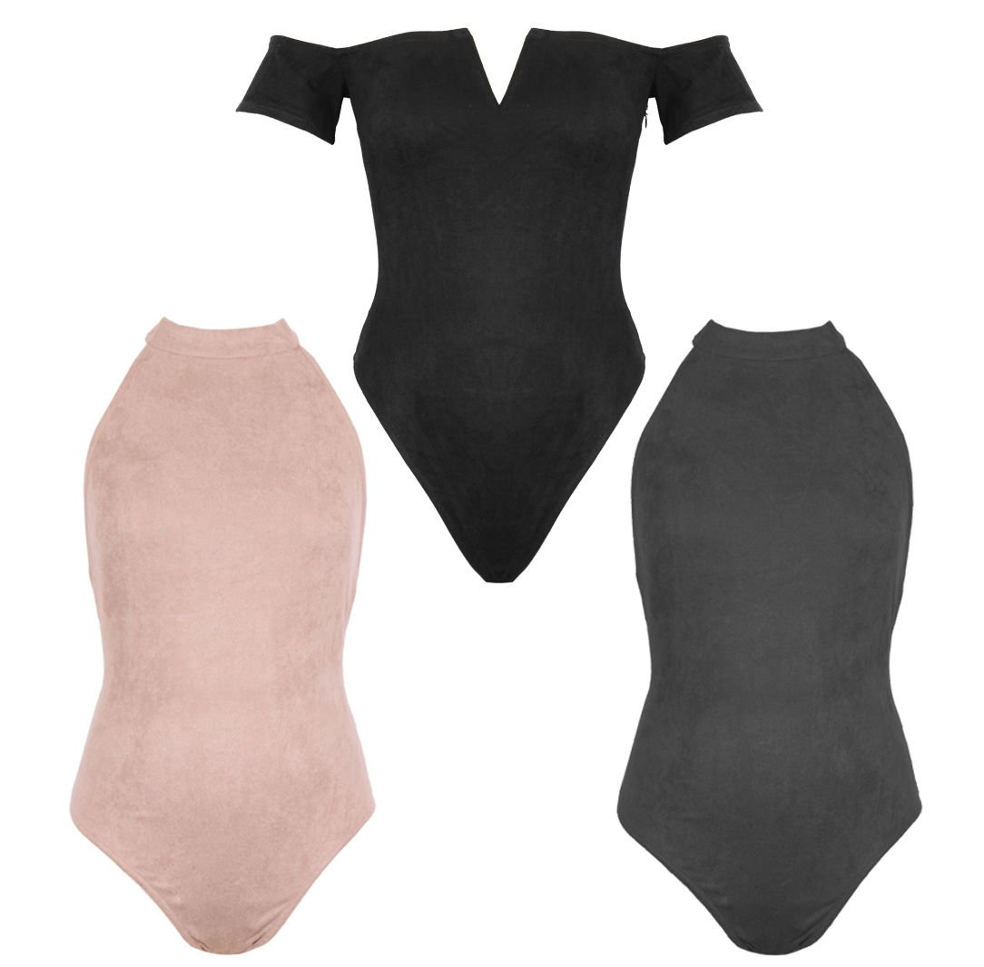 UK Women Halter Neck Off shoulder Bardot Leotard Vest Tops Party Sexy Bodysuit UK Size 10 Black