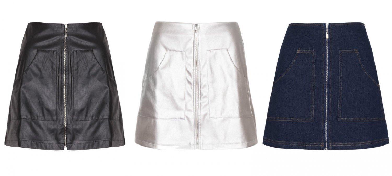 Women Faux Leather Denim High Waist A Line Midle Zip Mini Skirt Short Sexy UK Size 8 Denim