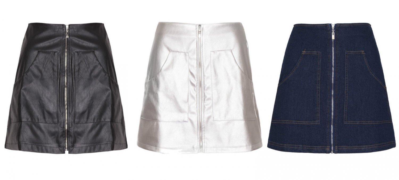Women Faux Leather Denim High Waist A Line Midle Zip Mini Skirt Short Sexy UK Size 10 Denim