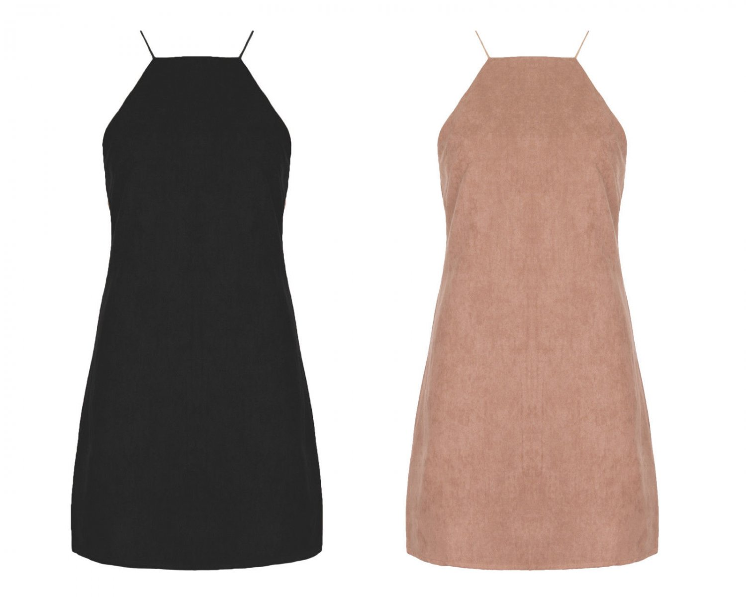 New Women Suede Mini Sexy Dress Rouleaux Straps Tunic Pinafore A Line UK Size 12 Tan