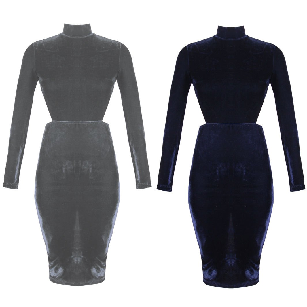 New Women's Velvet Long Sleeves Midi Open Back Clubbing Party Bodycon Dress UK Size 14 Navy