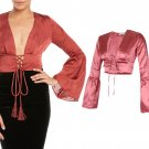 Women Lace Up Front Satin Plunge V Neck Bell Long Sleeve Blouse Crop Top UK Size 12 Rose