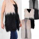 Ladies Ombre Faux Fur Trendy Long Line Gillet Top Waistcoat Jacket Furry Coat Beige/Black UK Size 14