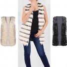 Ladies Faux Fur Mongolian Black Gilet jacket Winter Coat Outerwear Waistcoat UK Size 14 Stripy