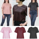 Women New Ladies Shirt Leather Look Short Sleeves Blouse Crop Top UK Size 14 Wine