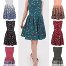Ladies Ocassion Party Pleated A Line Skirt Print Sleeveless Dress Tunic UK Size 14 Cherry Green