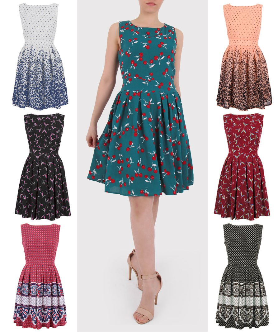 Ladies Ocassion Party Pleated A Line Skirt Print Sleeveless Dress Tunic UK Size 10 Polka dot Peach