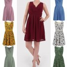 Women Pleated A Line Skirt Print Sleeveless Wrap V Neck Dress Tunic UK Size 16 Navy