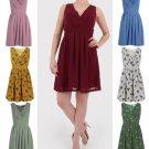 Women Pleated A Line Skirt Print Sleeveless Wrap V Neck Dress Tunic UK Size 14 Khaki