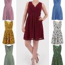 Women Pleated A Line Skirt Print Sleeveless Wrap V Neck Dress Tunic UK Size 8 Mustard Print
