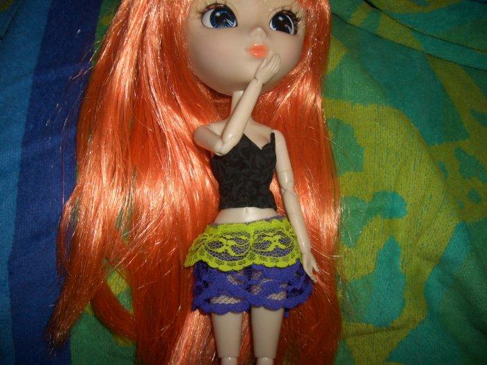 3-Layer Petticoat Skirt Green & Purple - Pullip