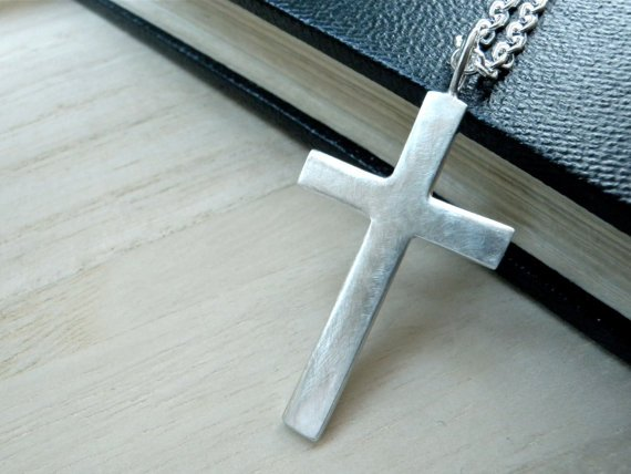 Large silver cross necklace Mens cross sterling silver pendant christening gift for him