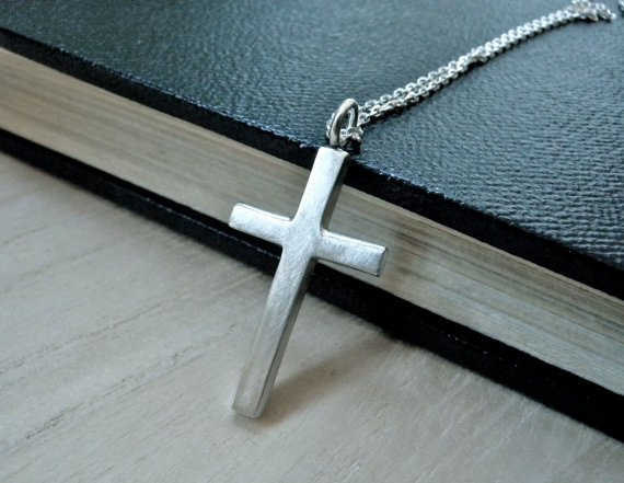 Simple cross necklace sterling silver women jewelry cross pendant christian gift idea for her