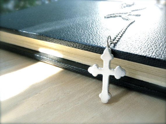 Her silver cross necklace handmade women jewelry - Gethsemane faith necklace gift idea - Small