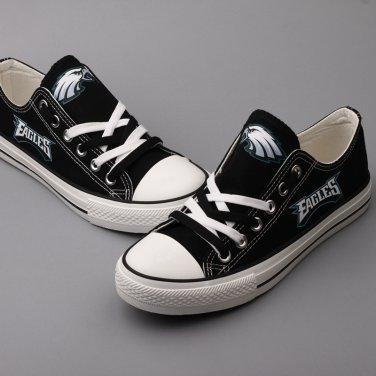sale retailer 3ce10 4b13f Custom Philadelphia Eagles Football Shoes Graffiti Canvas Sneakers Black  Unique Gift Ideas