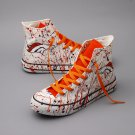 Denver Broncos  Football Shoes High Top Canvas Sneakers for Men Women White