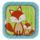 Forest Fox Square Party Plates Set