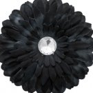 6 pack black fabric daisy w/jewel