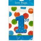 8 pack big 1 dots boy loot bags 6.5 x 9 inch