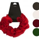 Satiny Hair Twister with Ruffle Flower Accents