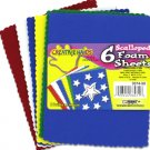 Scalloped foam sheets in assorted colors, pack of 6